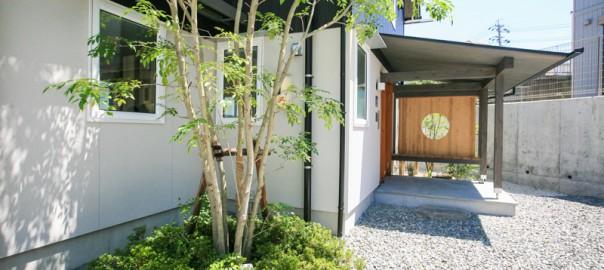 玄関脇にはお出迎えの植栽、そして円窓の向こうにも・・・